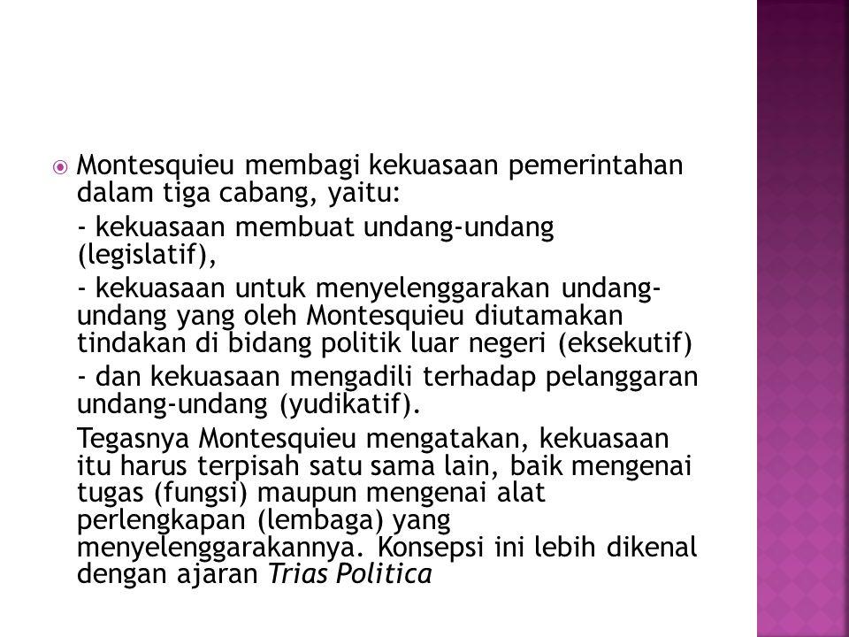 Montesquieu membagi kekuasaan pemerintahan dalam tiga cabang, yaitu: