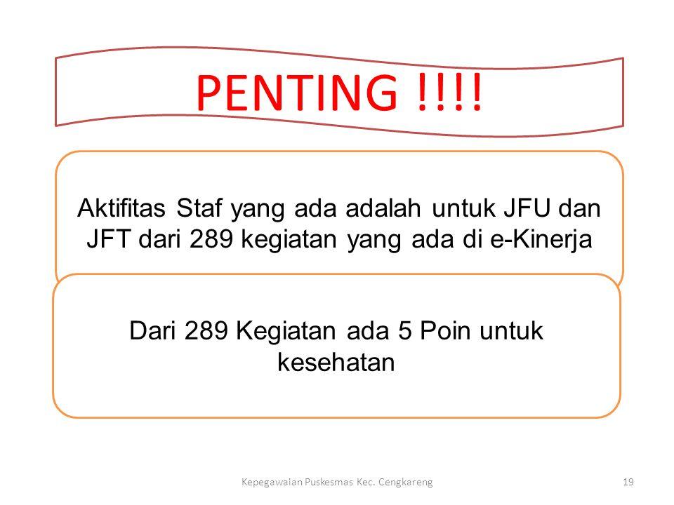 PENTING !!!! Aktifitas Staf yang ada adalah untuk JFU dan JFT dari 289 kegiatan yang ada di e-Kinerja.