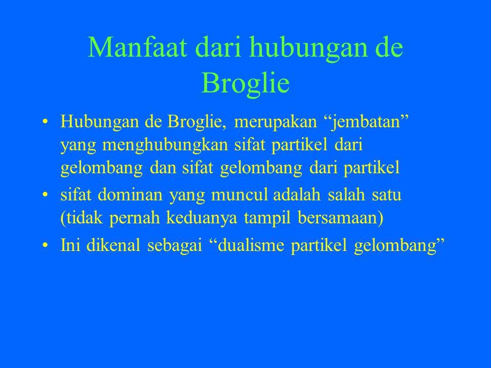 Manfaat dari hubungan de Broglie