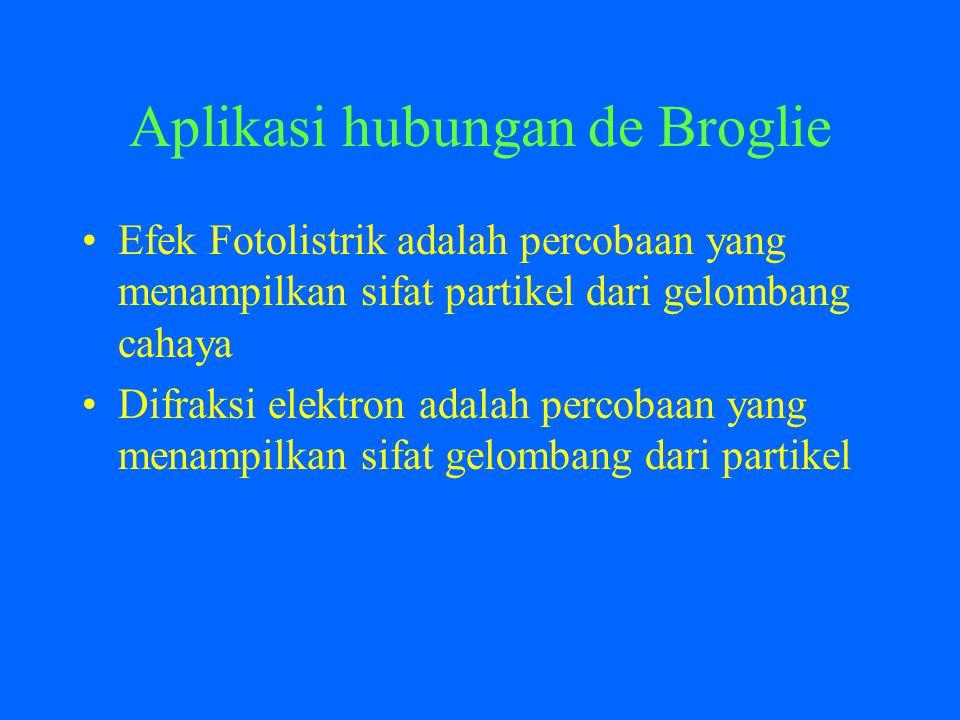 Aplikasi hubungan de Broglie