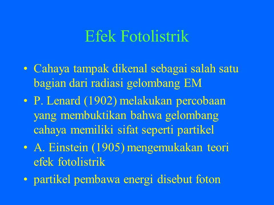 Efek Fotolistrik Cahaya tampak dikenal sebagai salah satu bagian dari radiasi gelombang EM.