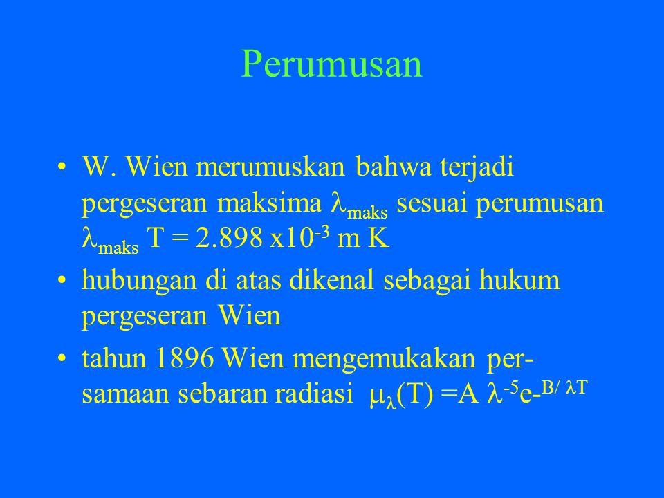 Perumusan W. Wien merumuskan bahwa terjadi pergeseran maksima maks sesuai perumusan maks T = 2.898 x10-3 m K.