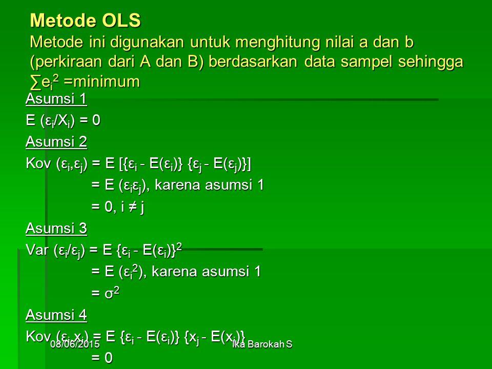 Metode OLS Metode ini digunakan untuk menghitung nilai a dan b (perkiraan dari A dan B) berdasarkan data sampel sehingga ∑ei2 =minimum