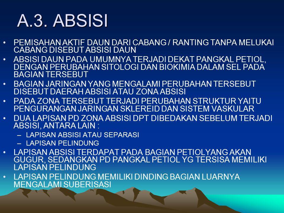 A.3. ABSISI PEMISAHAN AKTIF DAUN DARI CABANG / RANTING TANPA MELUKAI CABANG DISEBUT ABSISI DAUN.