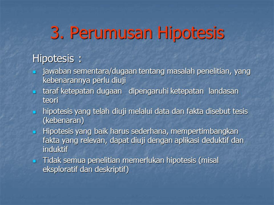 3. Perumusan Hipotesis Hipotesis :