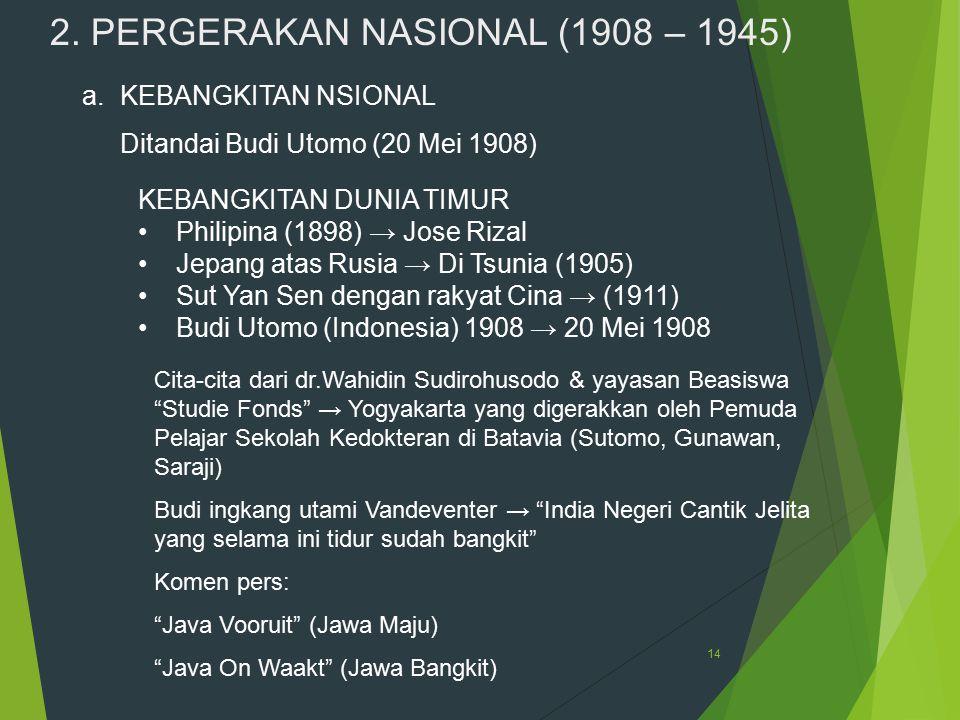 2. PERGERAKAN NASIONAL (1908 – 1945)