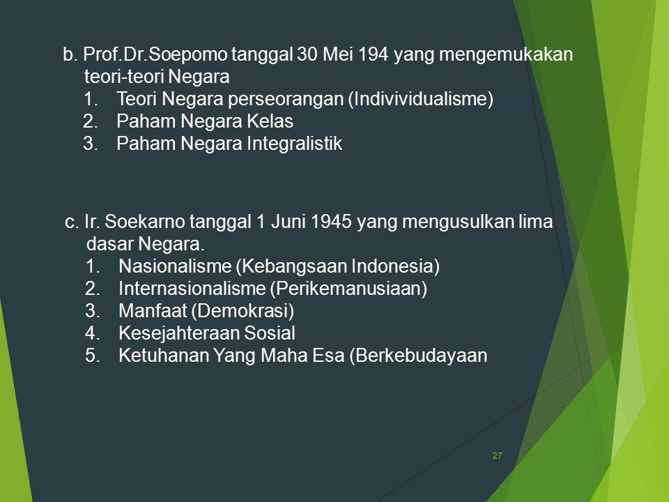 b. Prof.Dr.Soepomo tanggal 30 Mei 194 yang mengemukakan teori-teori Negara