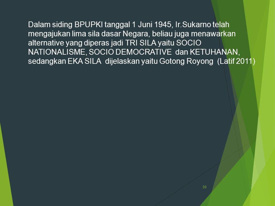 Dalam siding BPUPKI tanggal 1 Juni 1945, Ir