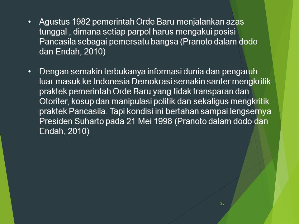 Agustus 1982 pemerintah Orde Baru menjalankan azas tunggal , dimana setiap parpol harus mengakui posisi Pancasila sebagai pemersatu bangsa (Pranoto dalam dodo dan Endah, 2010)