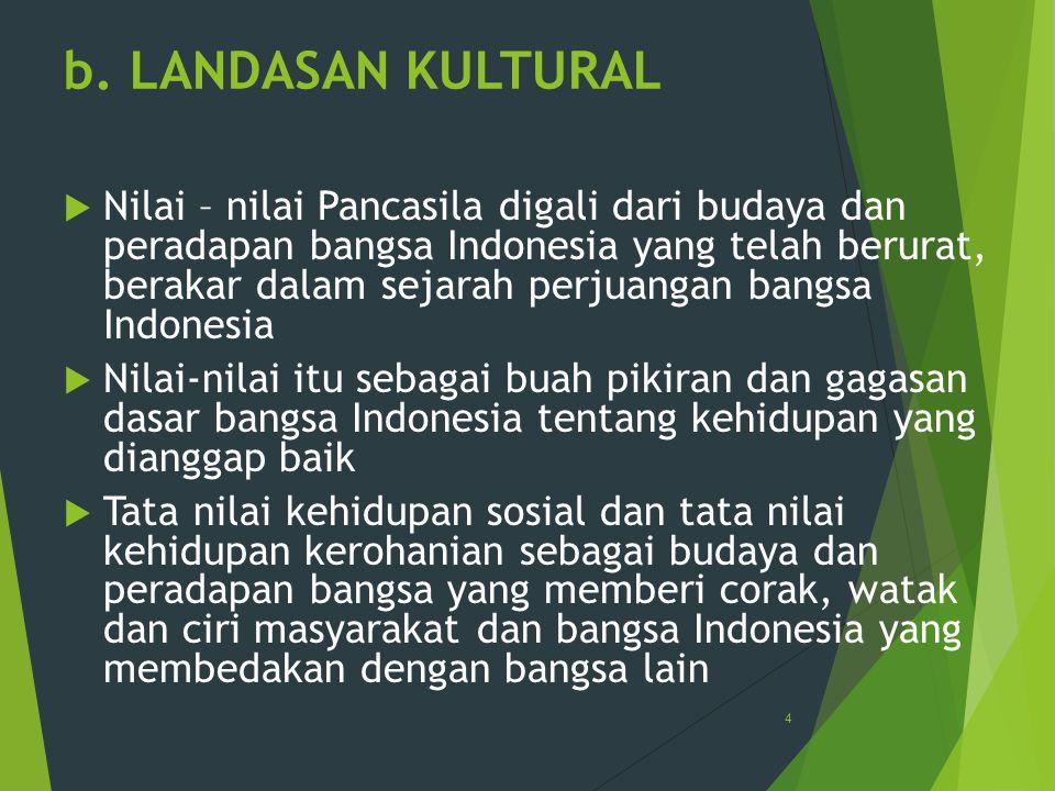 b. LANDASAN KULTURAL