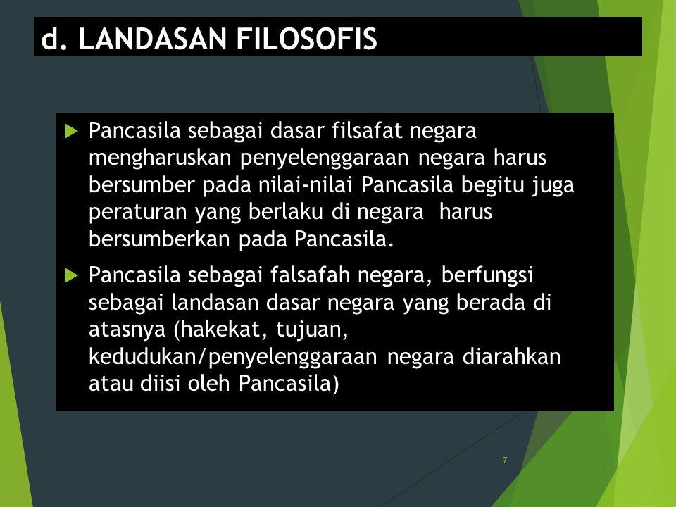 d. LANDASAN FILOSOFIS