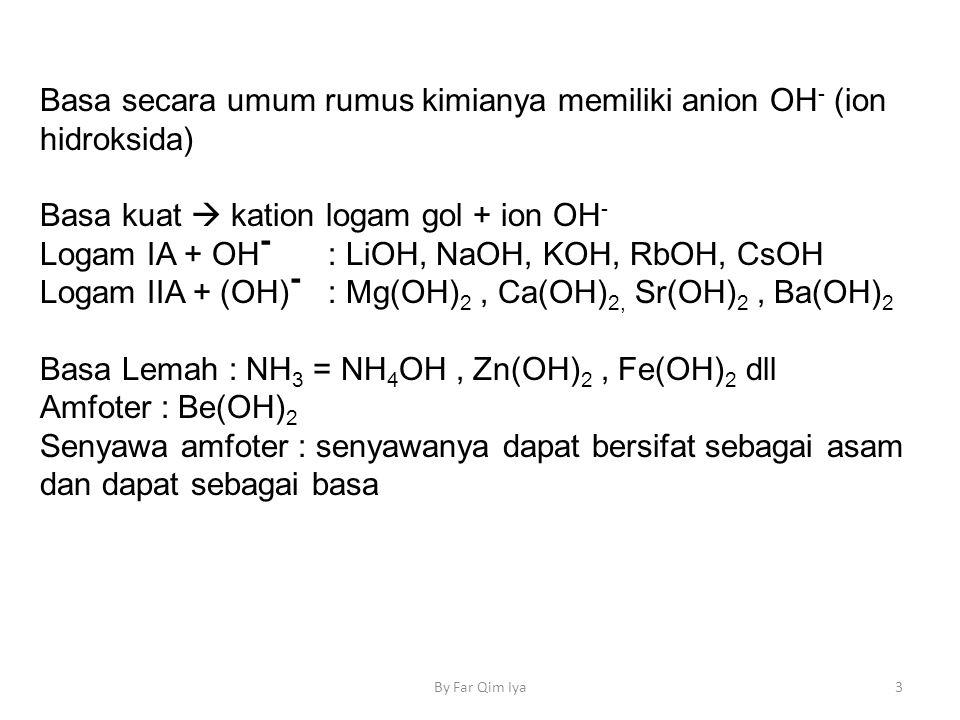 Basa secara umum rumus kimianya memiliki anion OH- (ion hidroksida)