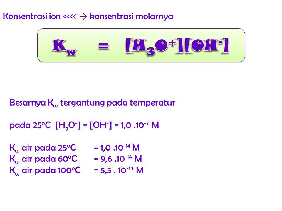 Konsentrasi ion <<<< → konsentrasi molarnya