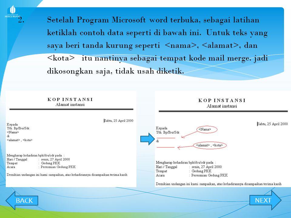 2. Setelah Program Microsoft word terbuka, sebagai latihan