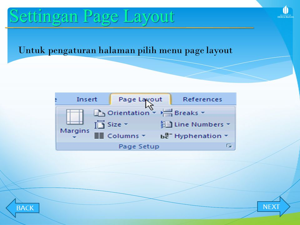 Settingan Page Layout Untuk pengaturan halaman pilih menu page layout