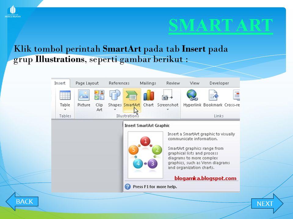 SMART ART Klik tombol perintah SmartArt pada tab Insert pada grup Illustrations, seperti gambar berikut :