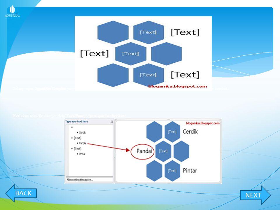 Selanjutnya, SmartArt Graphic yang telah Anda pilih sebelumnya akan tampil dan siap untuk diisi teks. Seperti gambar berikut :
