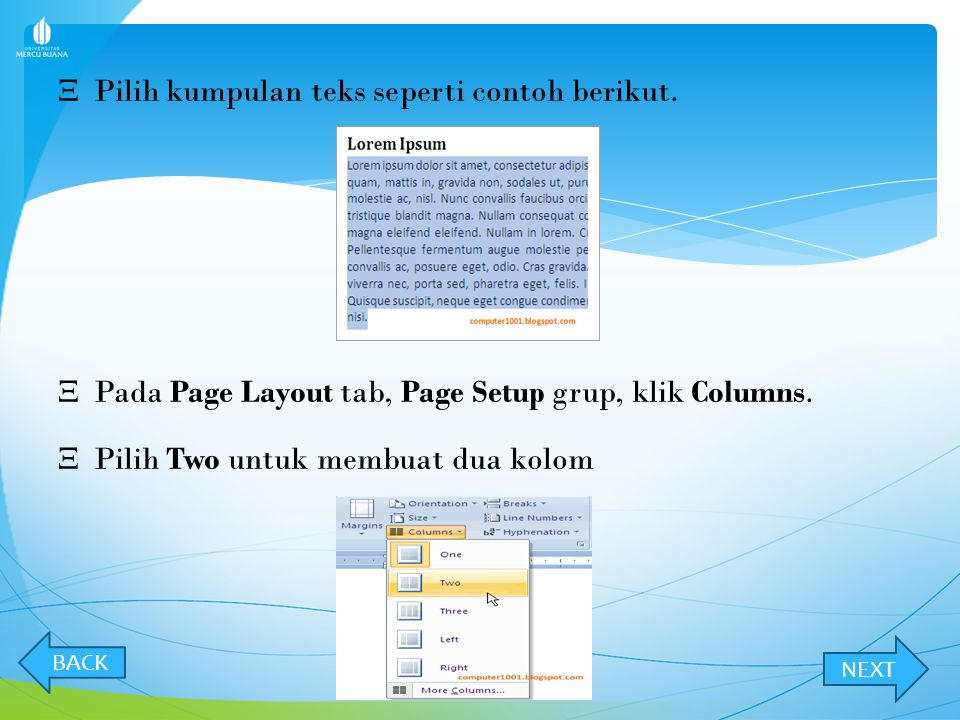 Pilih kumpulan teks seperti contoh berikut.