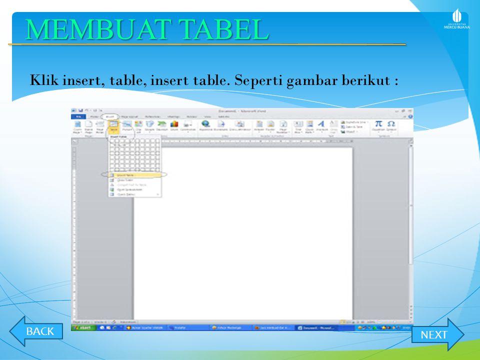 MEMBUAT TABEL Klik insert, table, insert table. Seperti gambar berikut : BACK NEXT