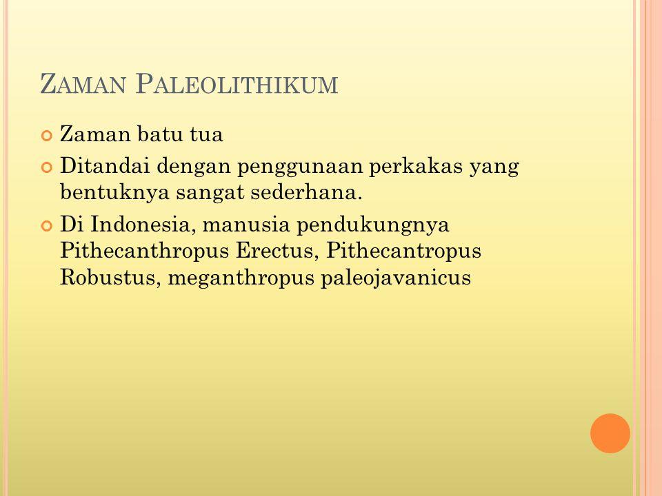 Zaman Paleolithikum Zaman batu tua