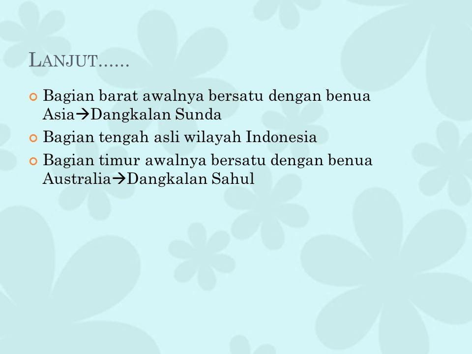 Lanjut...... Bagian barat awalnya bersatu dengan benua AsiaDangkalan Sunda. Bagian tengah asli wilayah Indonesia.