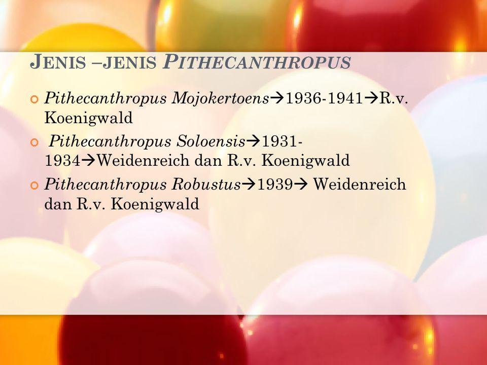 Jenis –jenis Pithecanthropus
