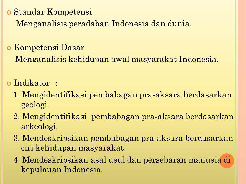 Standar Kompetensi Menganalisis peradaban Indonesia dan dunia. Kompetensi Dasar. Menganalisis kehidupan awal masyarakat Indonesia.