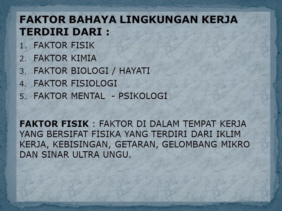 FAKTOR BAHAYA LINGKUNGAN KERJA TERDIRI DARI :