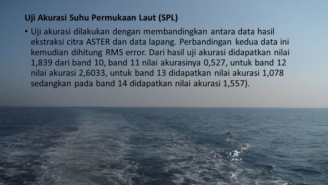 Uji Akurasi Suhu Permukaan Laut (SPL)