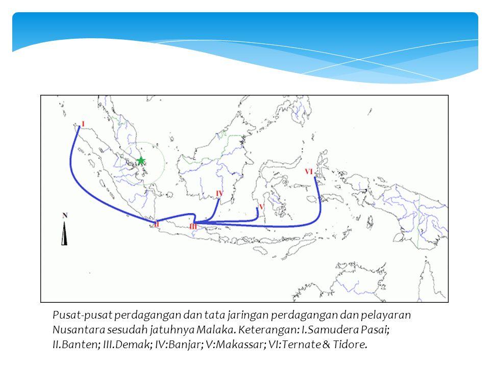 Pusat-pusat perdagangan dan tata jaringan perdagangan dan pelayaran Nusantara sesudah jatuhnya Malaka.