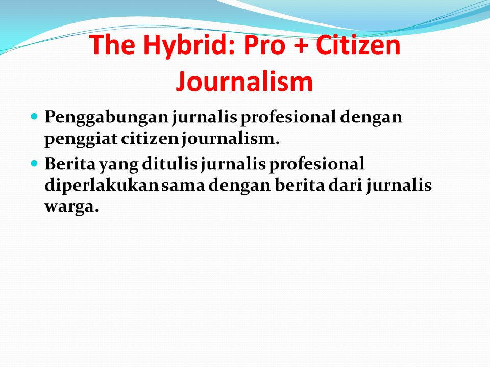 The Hybrid: Pro + Citizen Journalism