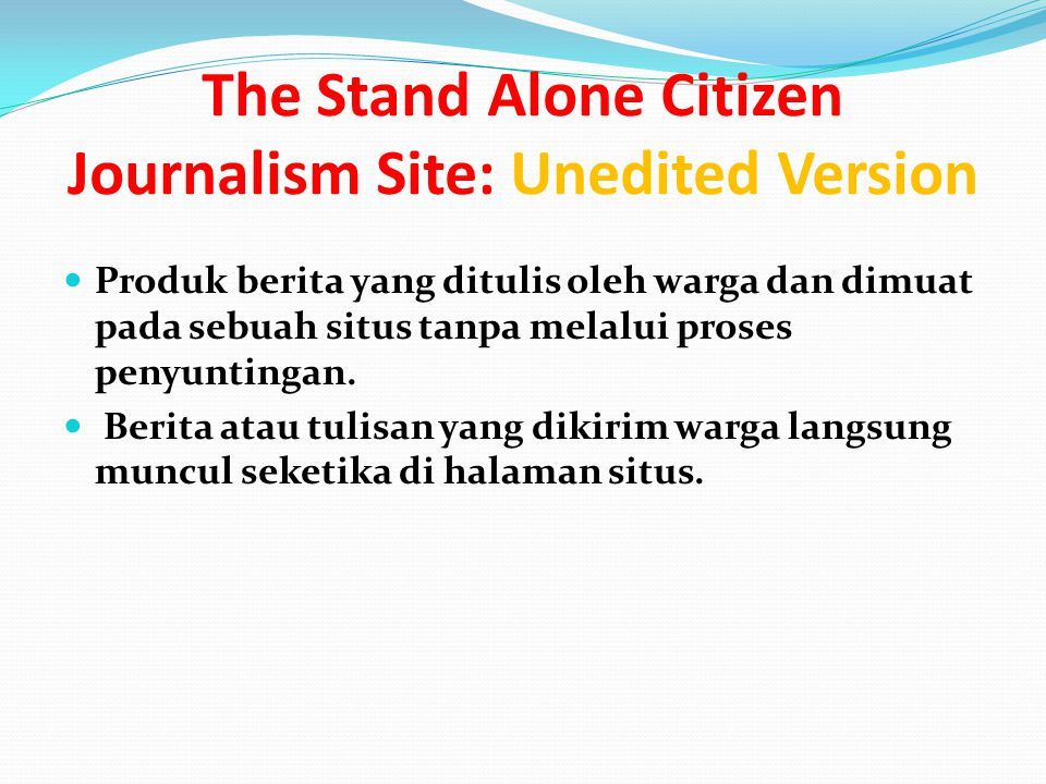 The Stand Alone Citizen Journalism Site: Unedited Version