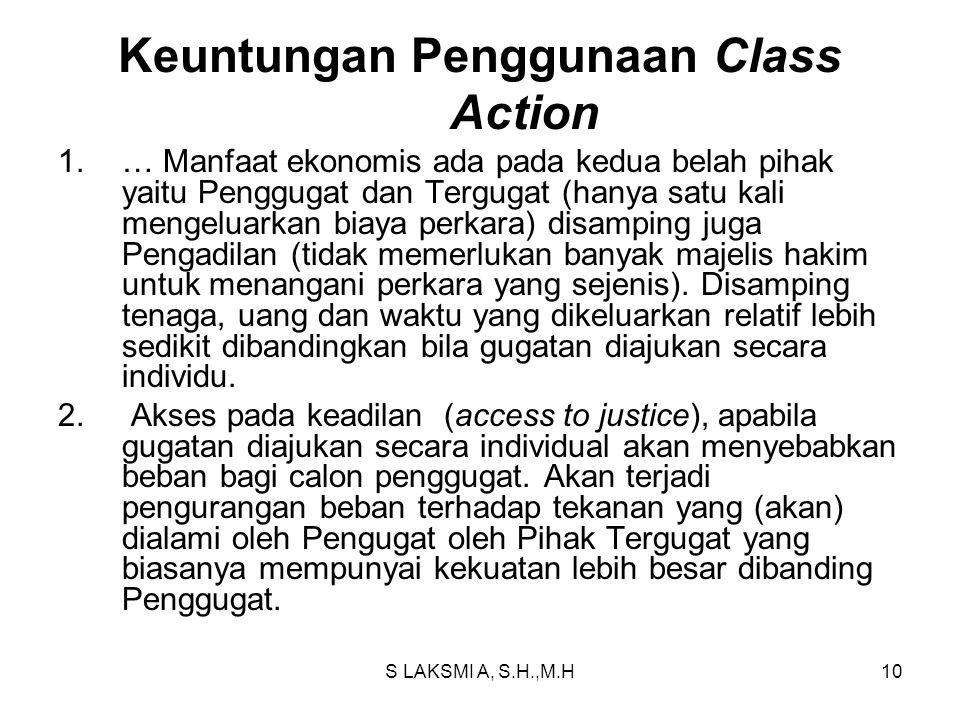 Keuntungan Penggunaan Class Action