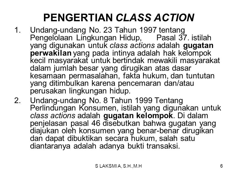 PENGERTIAN CLASS ACTION