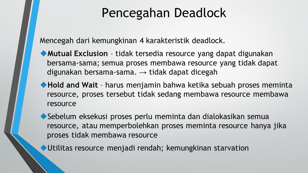 Pencegahan Deadlock Mencegah dari kemungkinan 4 karakteristik deadlock.