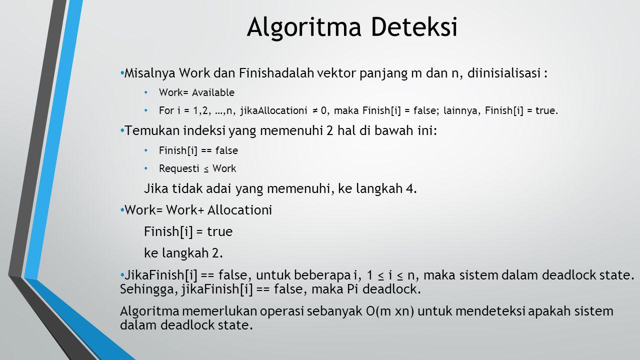 Algoritma Deteksi Misalnya Work dan Finishadalah vektor panjang m dan n, diinisialisasi : Work= Available.