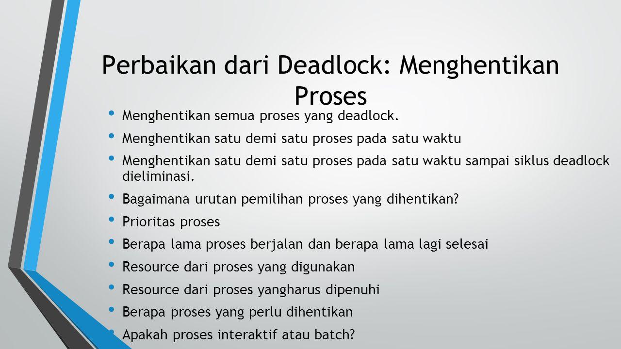 Perbaikan dari Deadlock: Menghentikan Proses