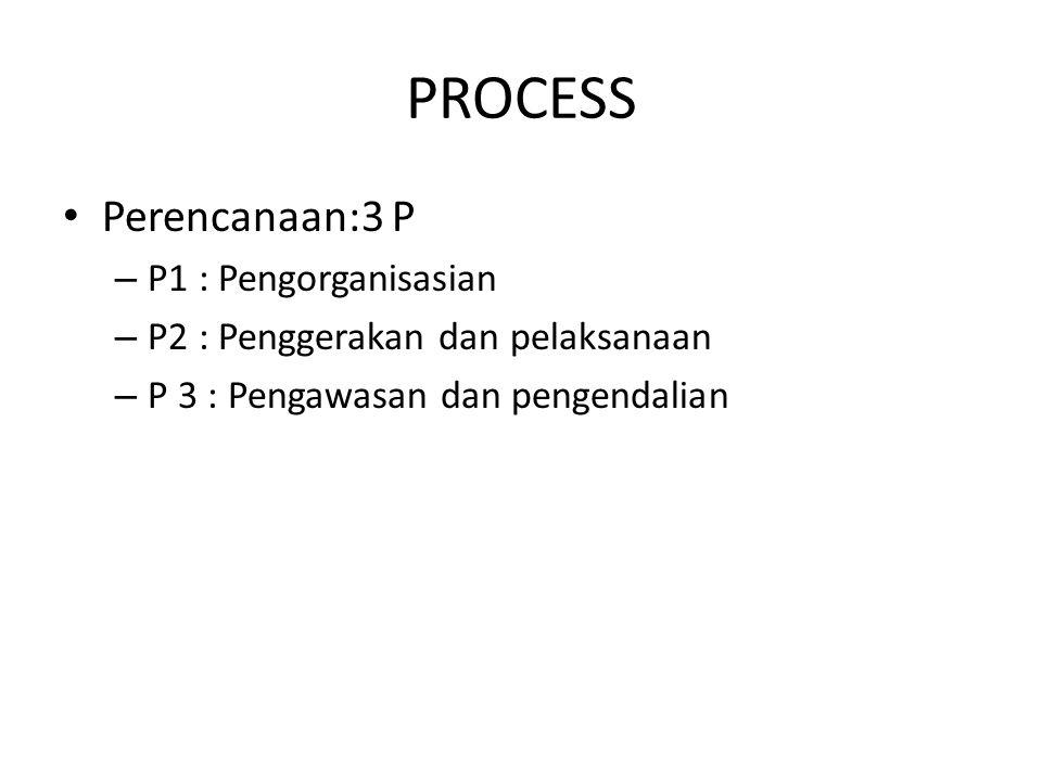 PROCESS Perencanaan:3 P P1 : Pengorganisasian