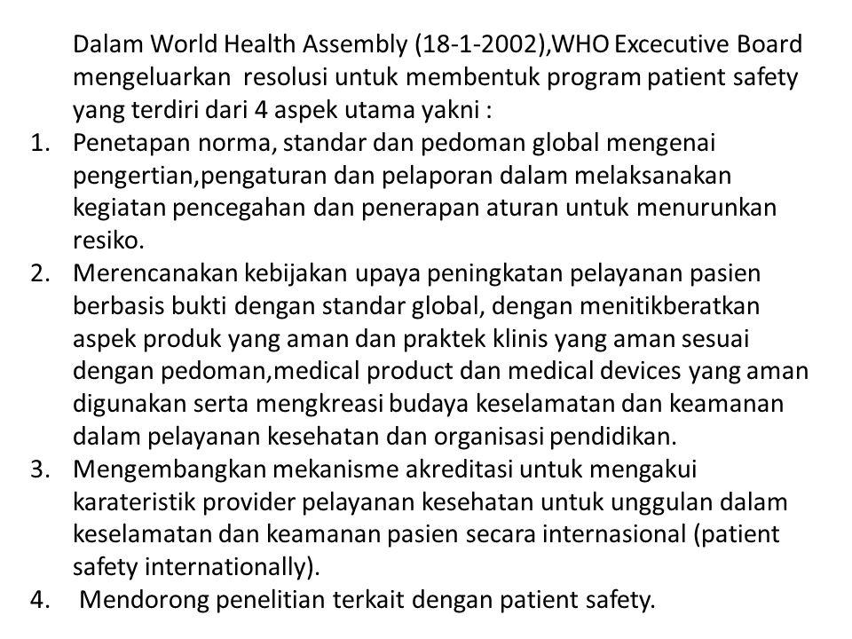 Dalam World Health Assembly (18-1-2002),WHO Excecutive Board mengeluarkan resolusi untuk membentuk program patient safety yang terdiri dari 4 aspek utama yakni :