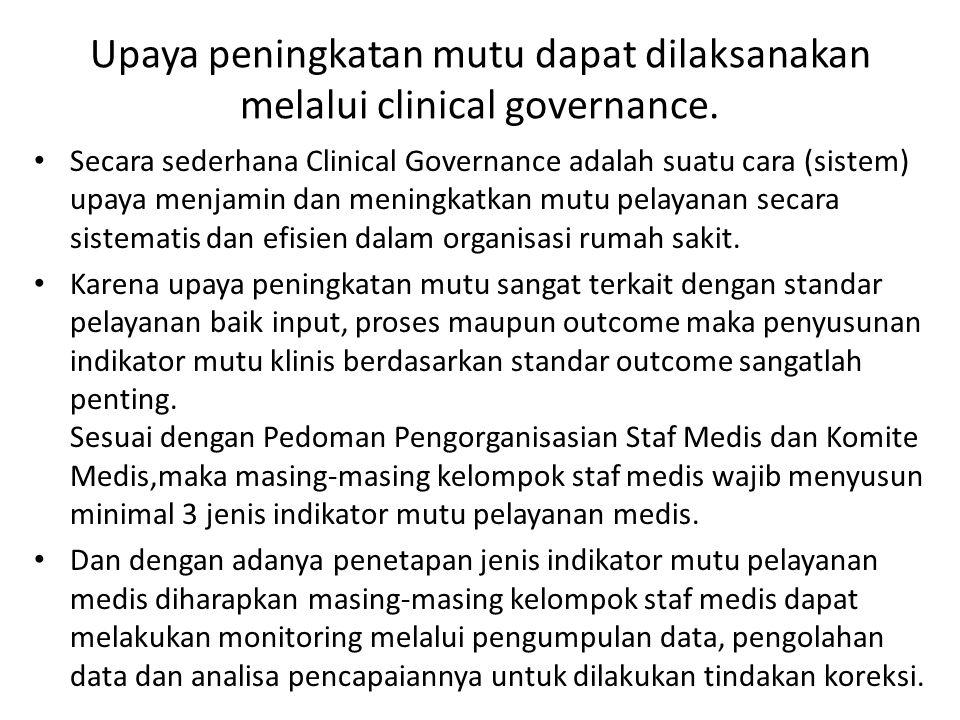 Upaya peningkatan mutu dapat dilaksanakan melalui clinical governance.
