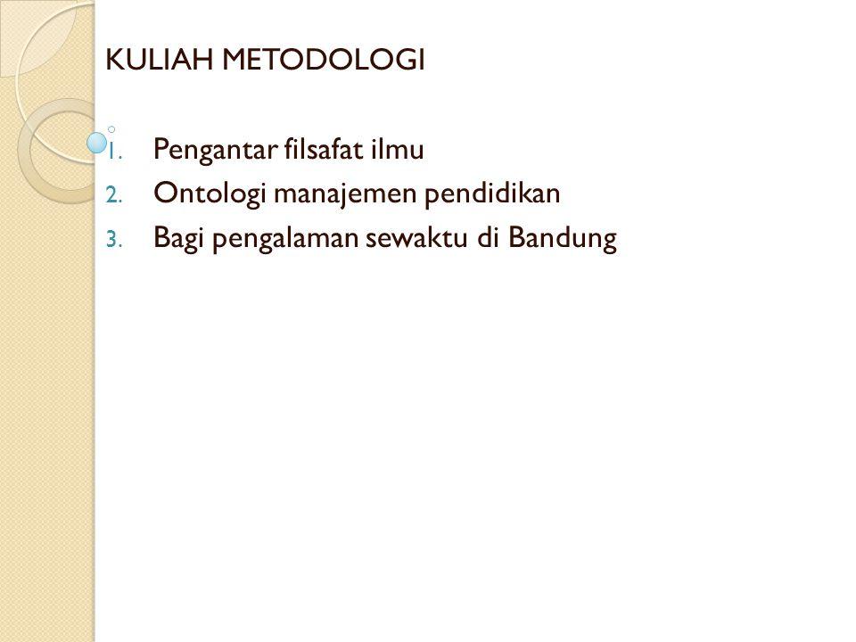 KULIAH METODOLOGI Pengantar filsafat ilmu. Ontologi manajemen pendidikan.