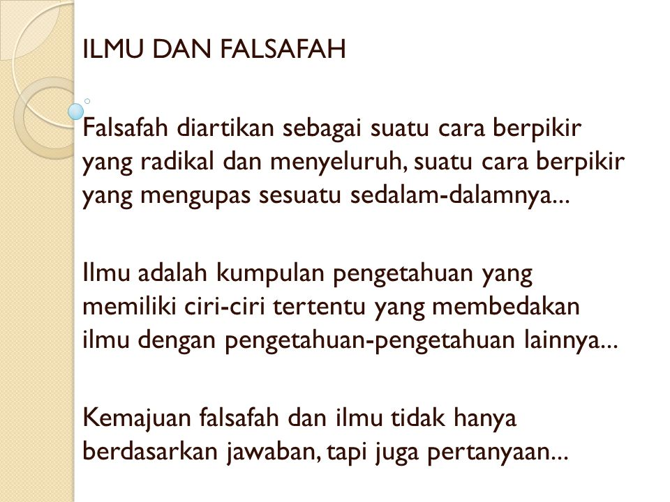 ILMU DAN FALSAFAH