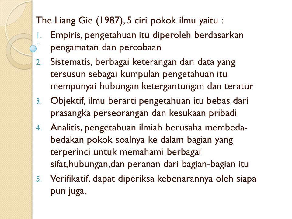The Liang Gie (1987), 5 ciri pokok ilmu yaitu :