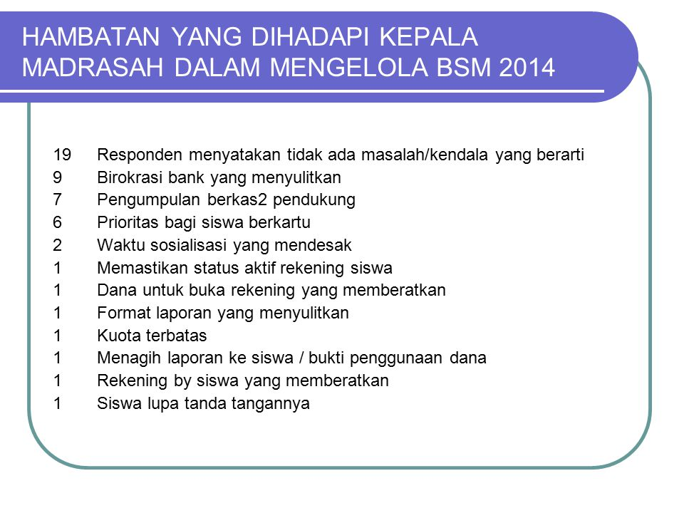 HAMBATAN YANG DIHADAPI KEPALA MADRASAH DALAM MENGELOLA BSM 2014