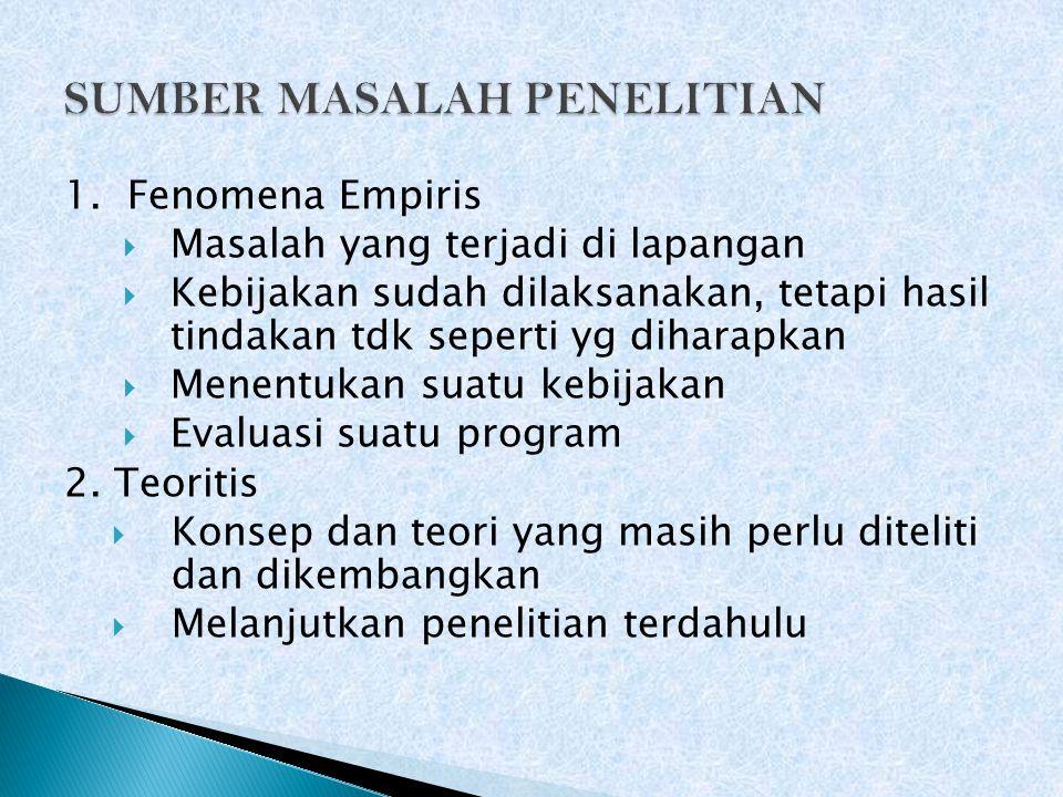 SUMBER MASALAH PENELITIAN