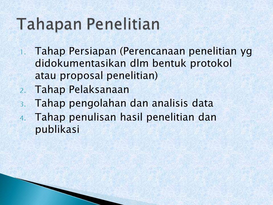 Tahapan Penelitian Tahap Persiapan (Perencanaan penelitian yg didokumentasikan dlm bentuk protokol atau proposal penelitian)