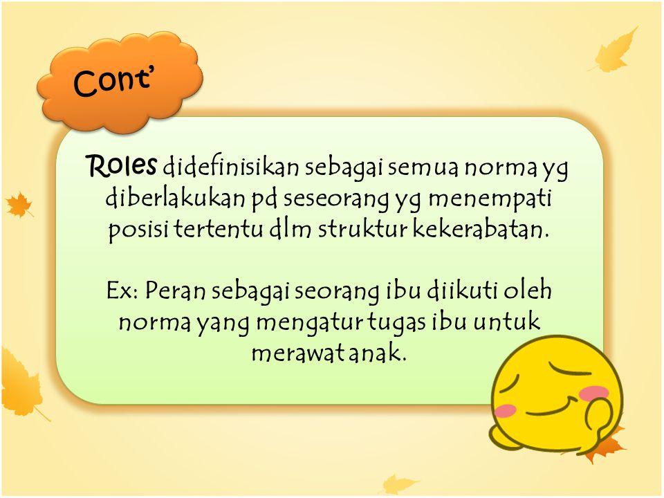 Cont' Roles didefinisikan sebagai semua norma yg diberlakukan pd seseorang yg menempati posisi tertentu dlm struktur kekerabatan.