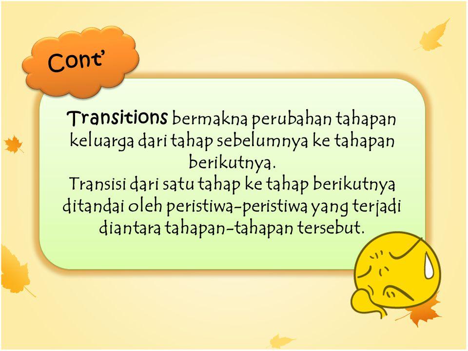 Cont' Transitions bermakna perubahan tahapan keluarga dari tahap sebelumnya ke tahapan berikutnya.