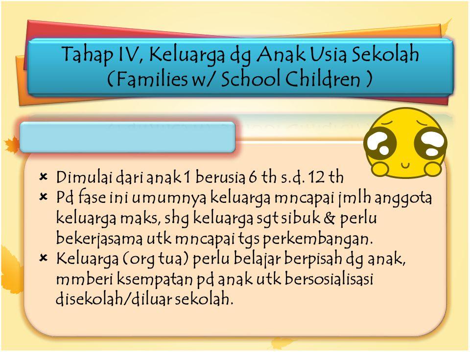 Tahap IV, Keluarga dg Anak Usia Sekolah (Families w/ School Children )