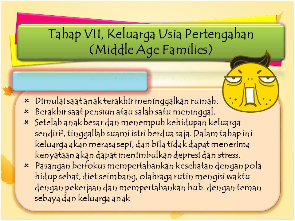 Tahap VII, Keluarga Usia Pertengahan (Middle Age Families)